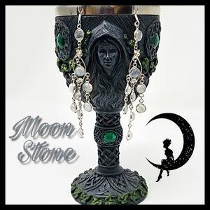 "New! Rainbow Moon Stone 925 SS overlay 4.29"" long"